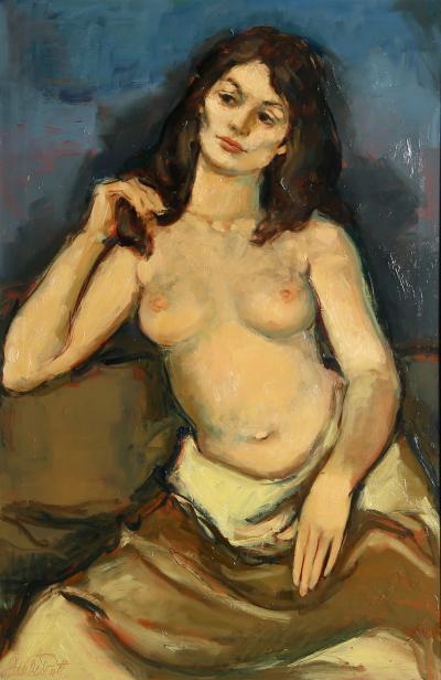 Jan De Ruth Seated Nude in Yellow Skirt
