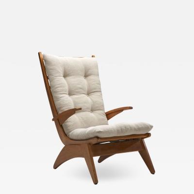 Jan Den Drijver Dutch Modern High Back Chair by Jan den Drijver for De Stijl The Hague 1950s