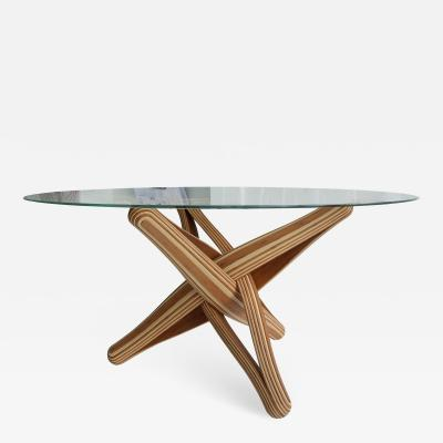 Jan Paul Meulendijks Lock bamboo dining table base only glass top not included