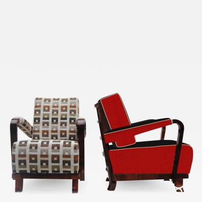 Jan Vanek 20th century Artdeco Czech Pair of arm chairs