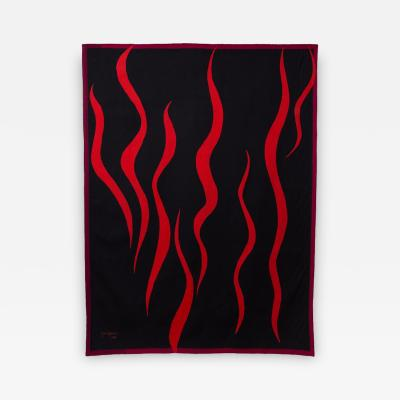 Jan Yoors Flames an original one of a kind Tapestry by Jan Yoors 1959