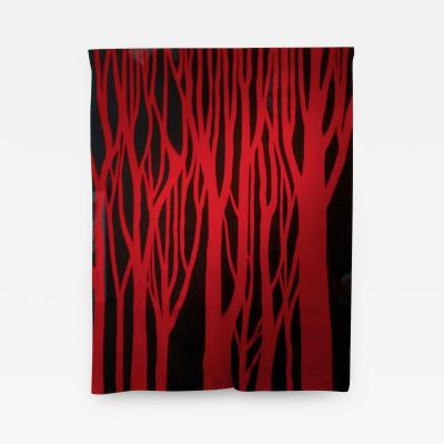 Jan Yoors Red Trees hand woven tapestry by Jan Yoors