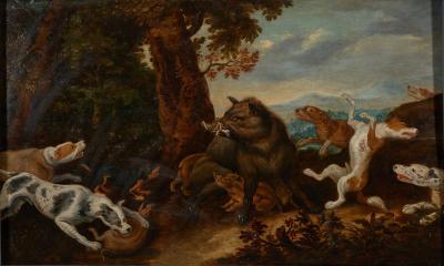 Jan van Kessel the Elder Flemish 1626 1679 Kessel 17th C Baroque Hunting Scene Wild Boar Hunt
