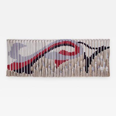 Jane Knight Privately Commissioned Jane Knight Fiber Art Installation Red and Gray Wave