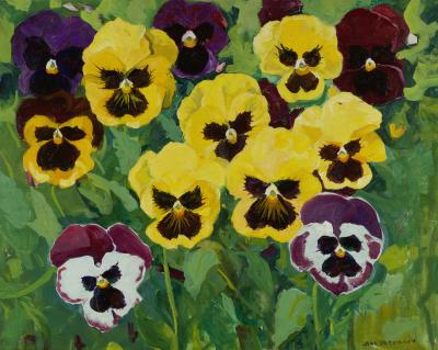 Jane Peterson Seven Yellow Pansies
