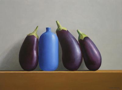 Janet Rickus Eggplant and Blue Vase