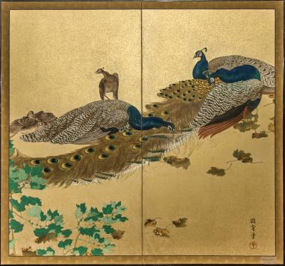 Japaese Two Panel Screen Family of Peafowl A Symbol of Family Prosperity