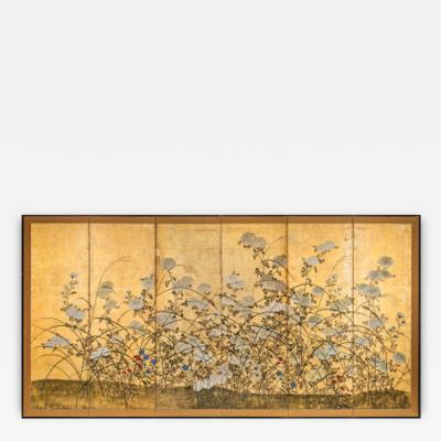 Japanese 6 Panel Screen White Chrysanthemums and Wild Grasses