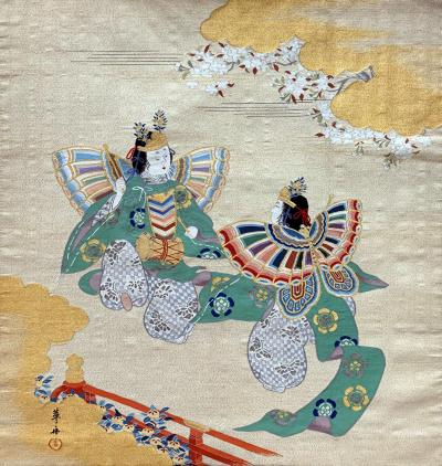 Japanese Antique Fukusa Textile Art Meiji Period
