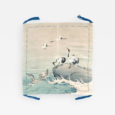 Japanese Antique Fusuka Textile Art Meiji Period