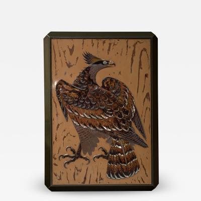 Japanese Antique Lacquer Document Box with Elaborate Hawk and Faux Oak Grain