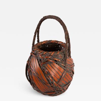 Japanese Antique Large Bamboo Basket for Flower Arranging