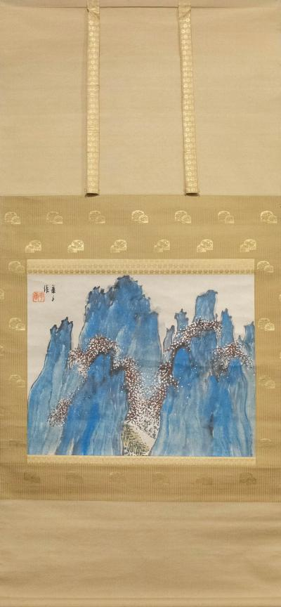Japanese Antique Scroll Horaisan Holy Mountain