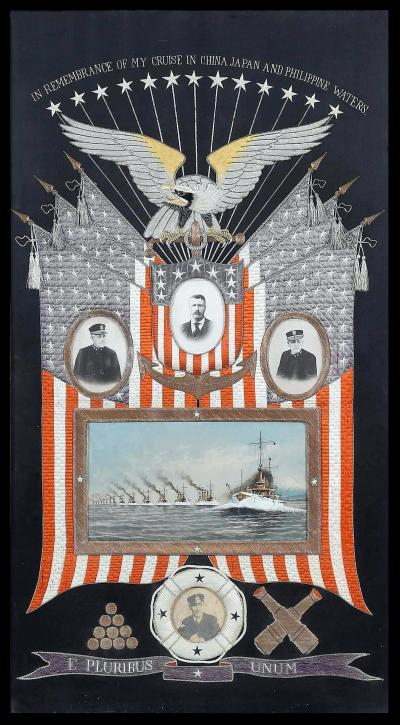 Japanese Antique Textile Panel Of American Historical Great White Fleet