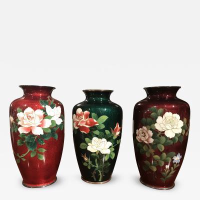 Japanese Cloisonn Vase Individual or Set of 3