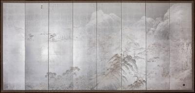 Japanese Eight Panel Screen Modern Chinese School Coastal Mountain Landscape