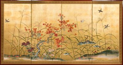 Japanese Four Panel Screen Autumn Flowers