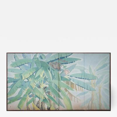 Japanese Four Panel Screen Banana Grove
