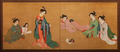 Japanese Four Panel Screen Bijin At Leisure