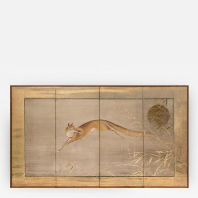 Japanese Four Panel Screen Fox and Moon Design
