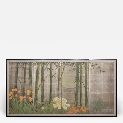Japanese Four Panel Screen Moonlit Bamboo Grove with Summer Flowers