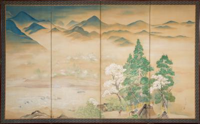 Japanese Four Panel Screen Mountain and Water Landscape