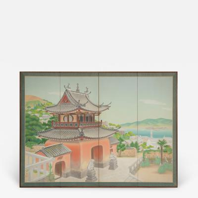 Japanese Four Panel Screen Okinawa Painting of a Temple Scene