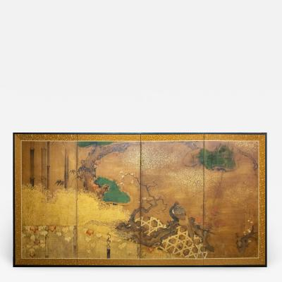 Japanese Four Panel Screen Pheasant on Old Plum in Garden