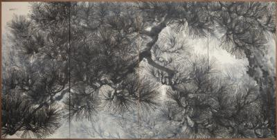 Japanese Four Panel Screen Pine Tree