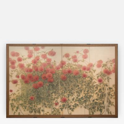 Japanese Four Panel Screen Red Dahlias