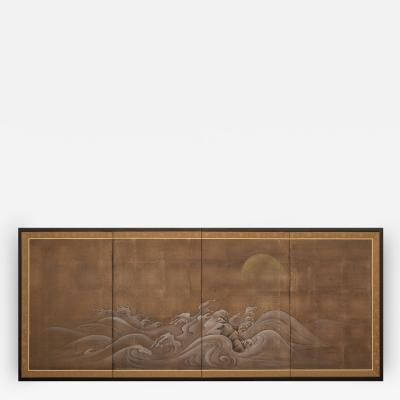 Japanese Four Panel Screen Rocks and Waves