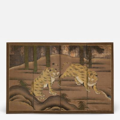 Japanese Four Panel Screen Two Tigers