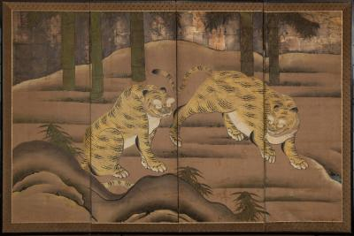 Japanese Four Panel Screen Two Tigers Exchanging Amorous Glances