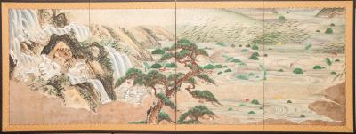 Japanese Four Panel Screen Water Landscape
