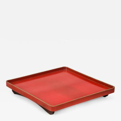 Japanese Gilt Decorated Red Lacquer Tray