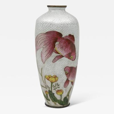 Japanese Ginbari Cloisonne Vase Meiji Period