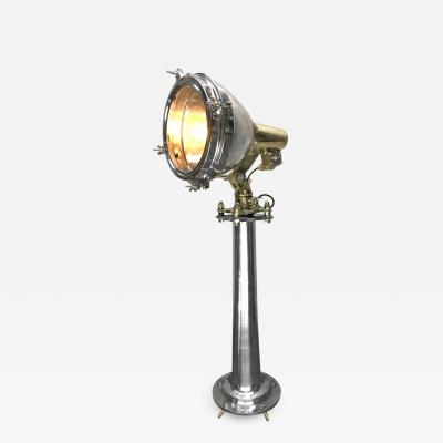 Japanese Industrial Brass Stainless Steel Searchlight Floor Lamp