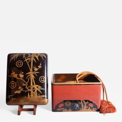 Japanese Lacquer Box with Bamboo Plum and Family Crest