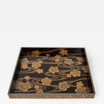 Japanese Lacquer Tray with Cherry Blossoms On Flowing Stream