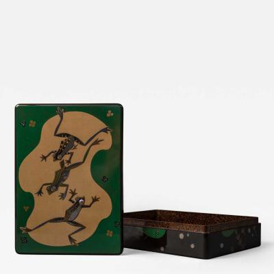 Japanese Lacquer Writing Box Suzuribako with Frog Design
