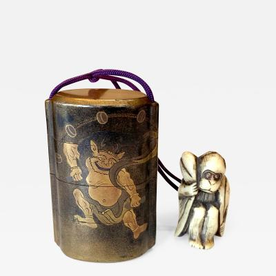 Japanese Lacquered Inro and Netsuke with Raijin Rinpa School