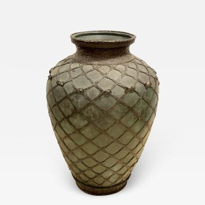 Japanese Meiji Basket Form Bronze Vase
