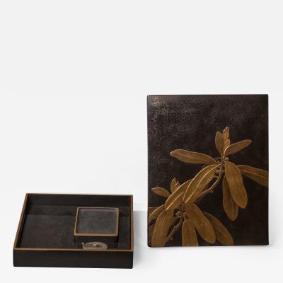 Japanese Meiji Period Suzuribako Writing Box with Leaf Design