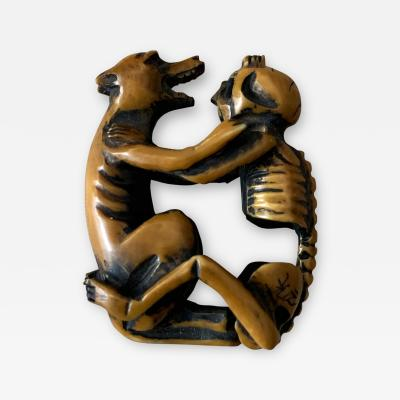 Japanese Netsuke Skeleton and Wolf Meiji Period