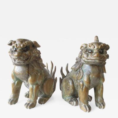 Japanese Pair of Edo Period Wooden Shrine Guardian Fu dogs