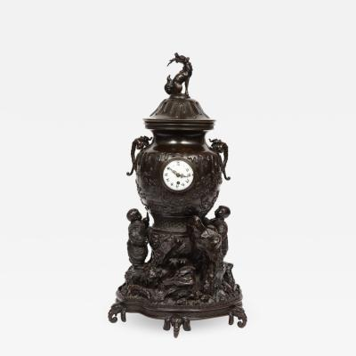 Japanese Patinated Bronze Figural Clock Vase Meiji Period