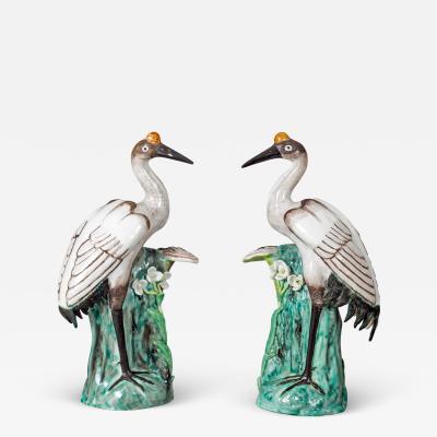Japanese Porcelain Red Crown Cranes A Pair