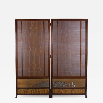 Japanese Rosewood and Bamboo Screen