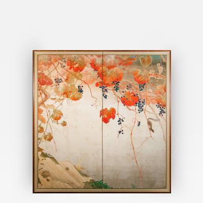 Japanese Screen Autumnal Grape Arbor with Squirrel