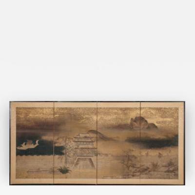 Japanese Screen Chinese Temple in Mountain Landscape